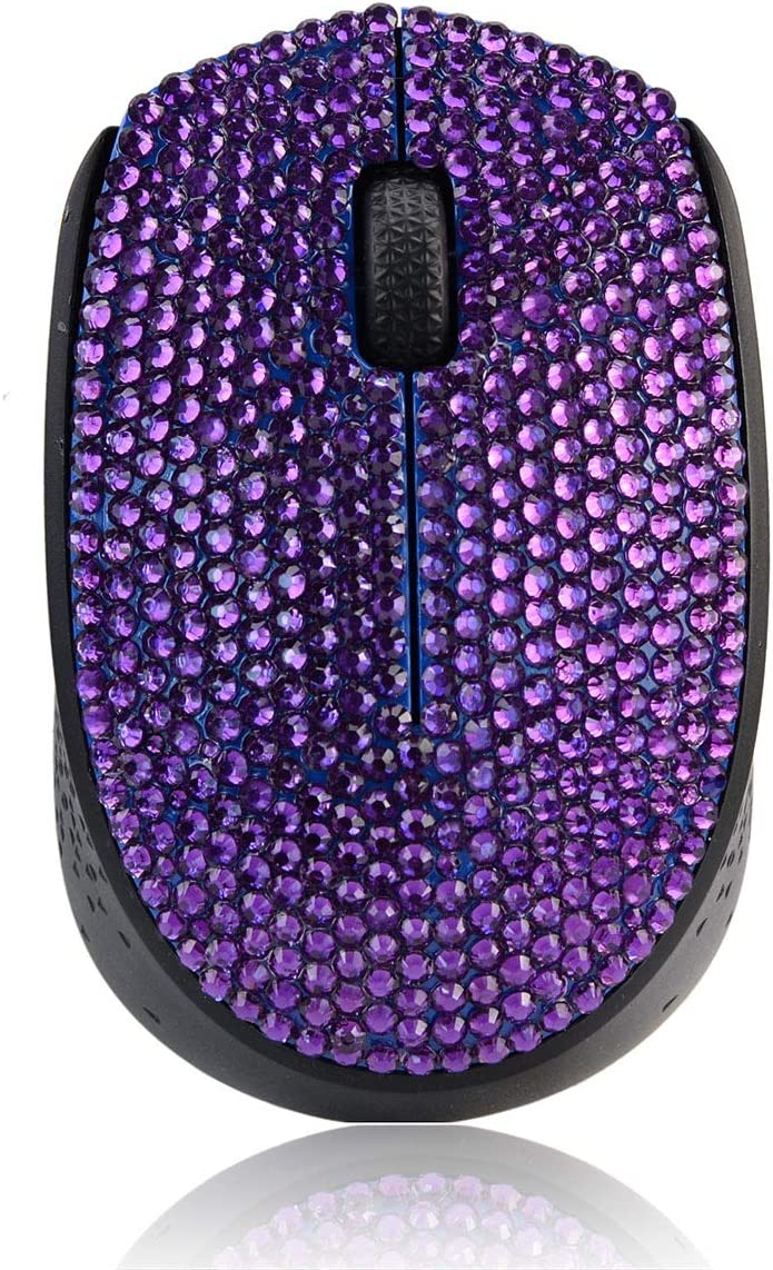 SA@ Brand Luxury Bling Dazzle Jeweled Rhinestone Crystal Wireless Mouse for Computers and Laptops Office (M170 Purple)