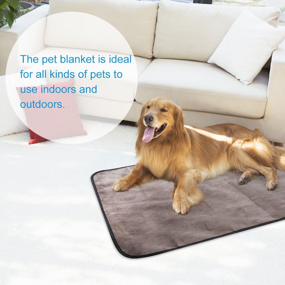 UEETEK Manta para mascotas, impermeable y de felpa manta para perros con bolsa de transporte portátil para perros Perrito Gato aplicaciones para exteriores ...