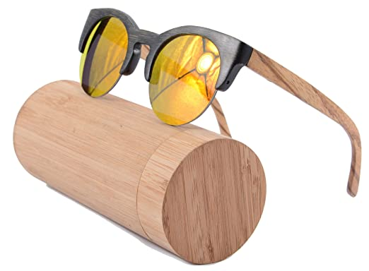 shinu bamboo frame sunglasses semi rimless retro round wood sunglasses z6017bamboo black