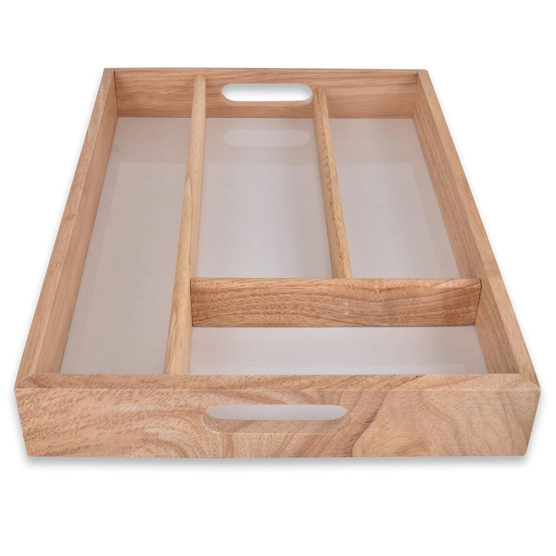 Holz-Besteck-Schublade Tray mit 4 verschiedenen große Fächer: Amazon ...