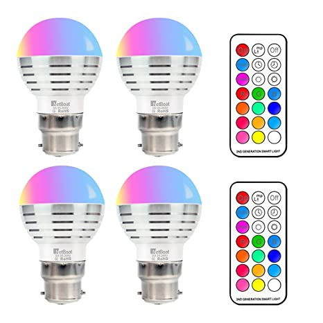 LED Bombillas de Colores,RGBW 3W Bombillas LED Regulable B22 Bulbo,12 Colores Múltiples