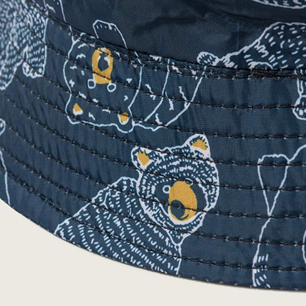 Abcidubxc Unisexe Seau Chapeau Fisherman Caps,Imprim/é Animal Ours,Chapeau De Soleil Pliable,Anti-UV Protection /Ét/é pour Femmes