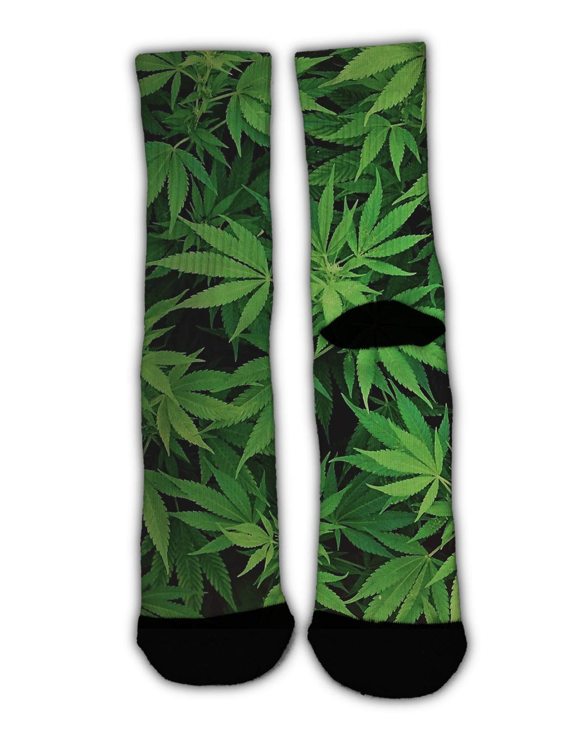 MrDecor Novelty Cool Crazy Funny Dress Socks,Cannabis Leaf Green Weed Marijuana Cotton Crew Socks, Gifts for Men