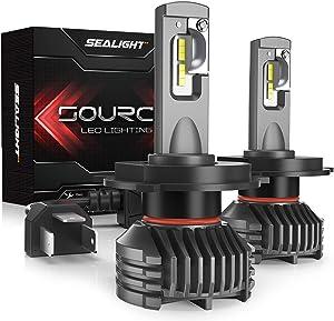 SEALIGHT H4 LED Headlight Bulbs, 9003/HB2 LED Headlight Bulb, High Low Beam, 12,000 Lumens High Brightness, 6000K Cool White, S3 Series