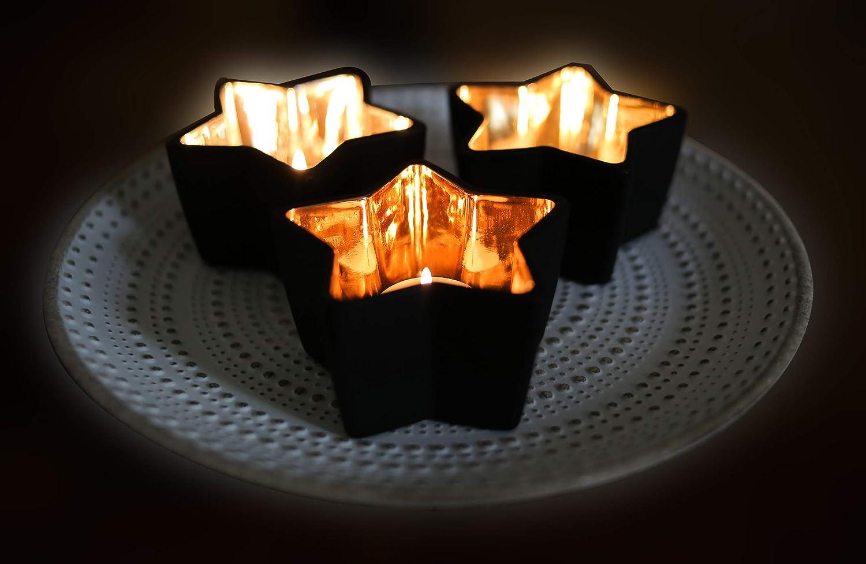 Flanacom Metal, decoraci/ón de Mesa Juego de 3 portavelas de t/é Corazones
