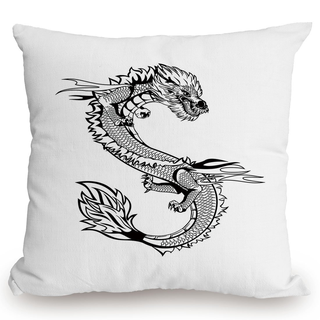 Throw Pillow Cushion Cover,Japanese Dragon,Ancient Far Eastern Culture Esoteric Magical Monster Symbolic Thai Style Decorative,Black White,Decorative Square Accent Pillow Case