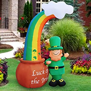 SEASONBLOW 8 Ft LED Light Up Inflatable St. Patrick's Day Decoration Waving Leprechaun with Rainbow Pot of Gold for Home Yard Lawn Garden Indoor Outdoor