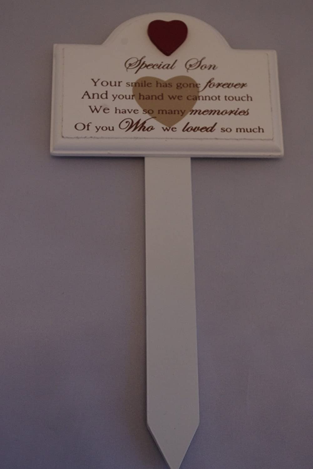 Graveside Memorial Sign Stick Special Son Red Heart