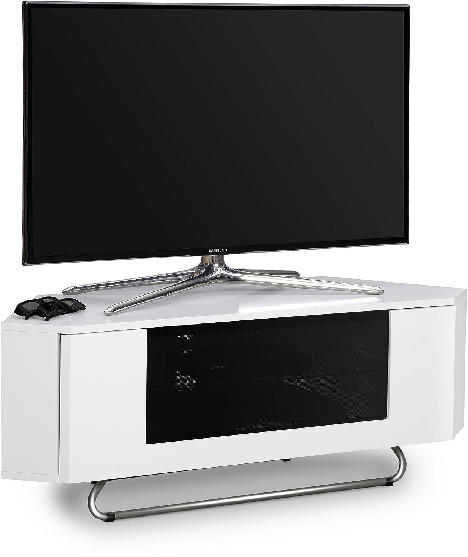 Centurion soutient Hampshire Coin-Friendly Gloss Blanc avec noir Contraste Beam-Thru t/él/écommande bienvenus porte 26-50 TV /à /écran plat Cabinet
