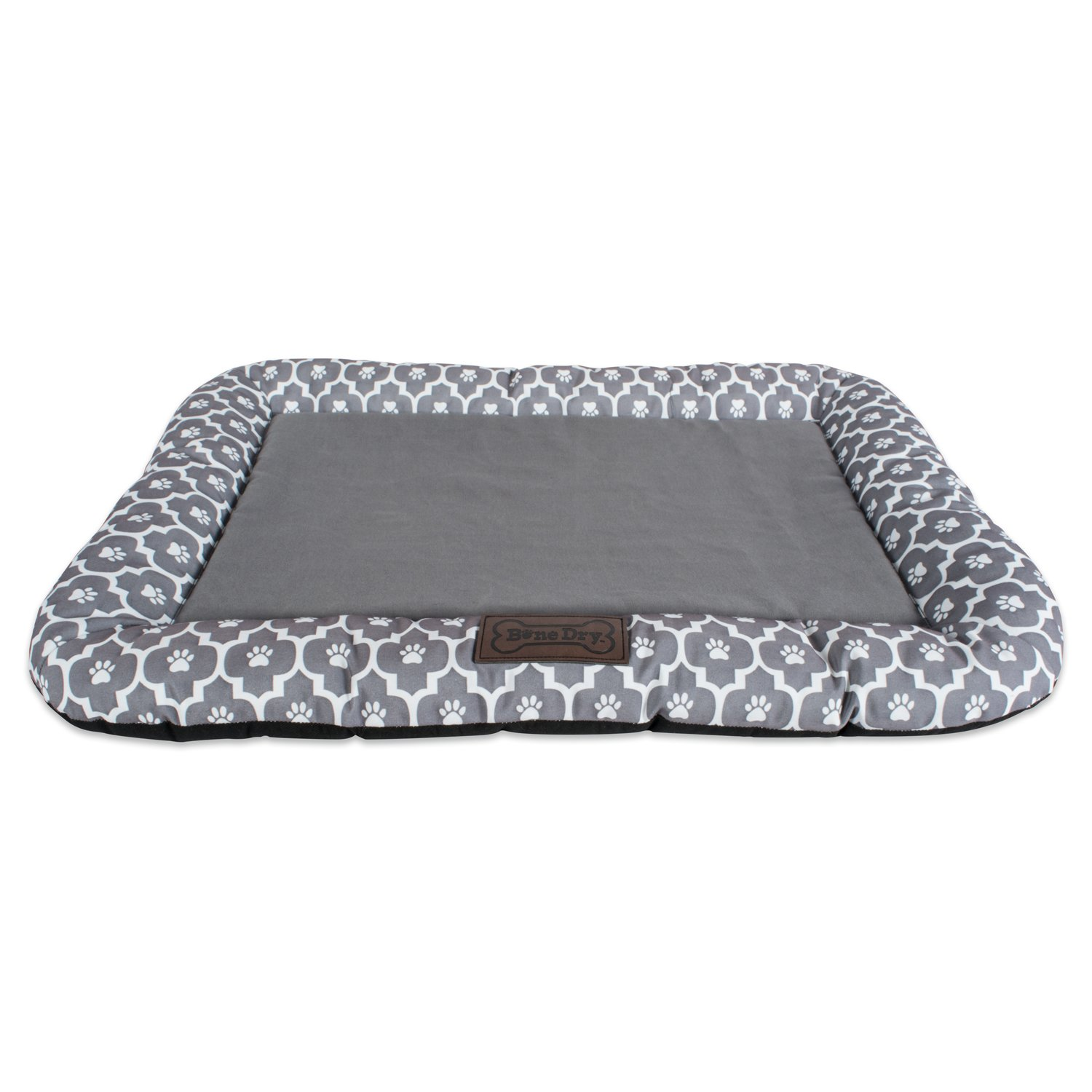 Bone Dry DII Small Rectangle Lattice Kennel & Crate Padded Pet Mat, 17x22 for Dogs or Cats-Gray