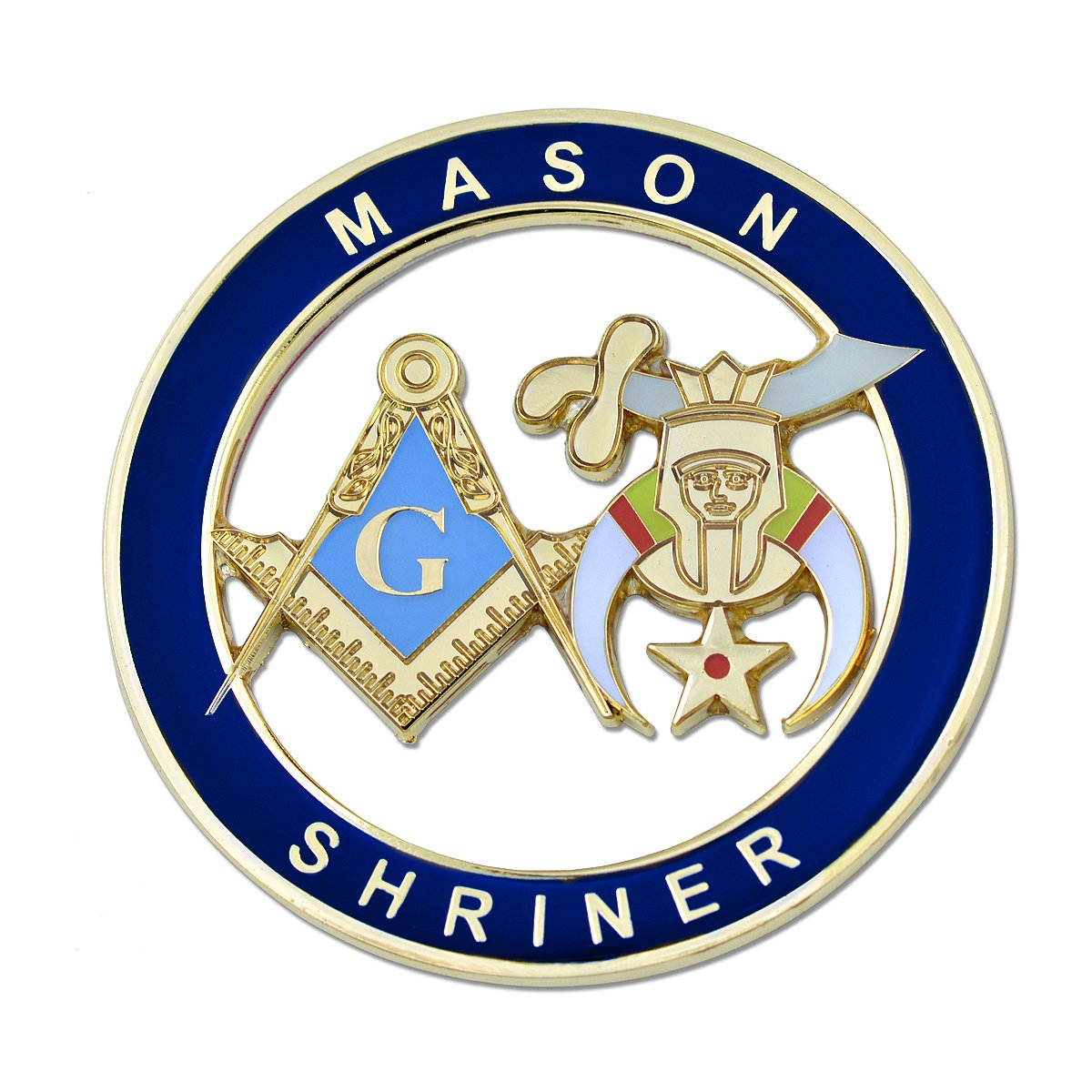 Mason Shriner Blue Masonic Auto Emblem 3 Diameter