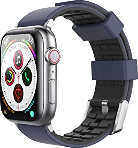 AhaStyle Duotone Band for iWatch 44mm 42mm, Breathable Silicone Band Strap Wristband Compatible with iWatch Series SE/6/5/4/3/2/1 (Midnight Blue, Black, 42mm/44mm)