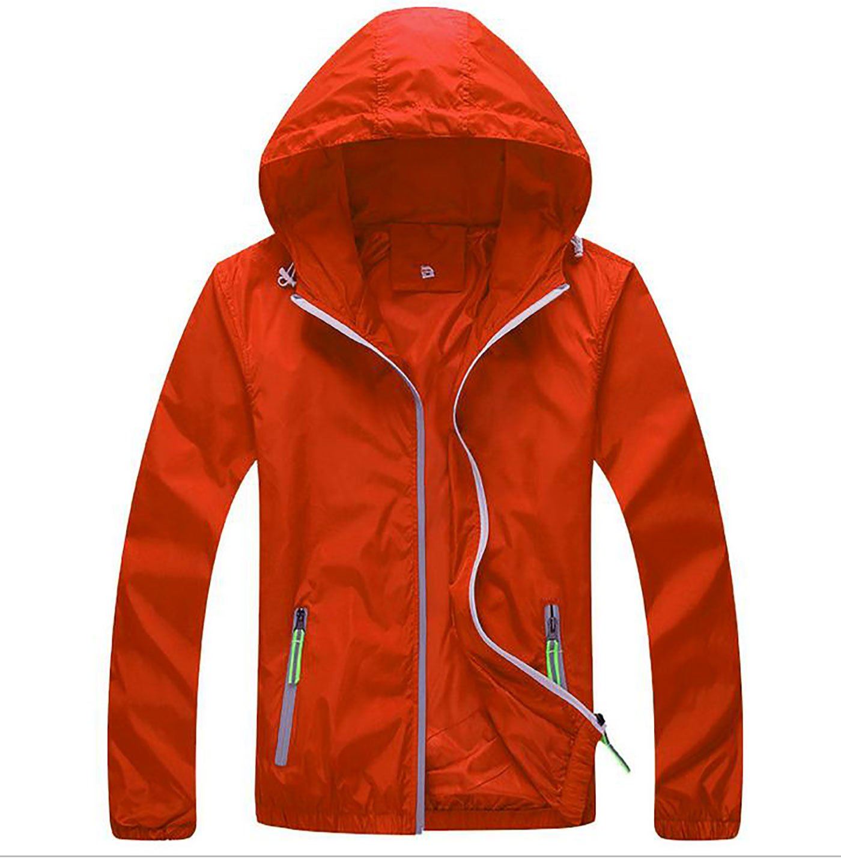 Panegy Mens Lightweight Running Travel Rain Jacket Womens Windbreaker Water Resistant Orange 2XL by Panegy