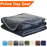 EASELAND Luxury Super Soft Queen Size Blanket Summer Cooling Warm Fuzzy Microplush Lightweight Thermal Fleece Blankets for Couch Bed Sofa,90 by 90 Inches,Dark Gray