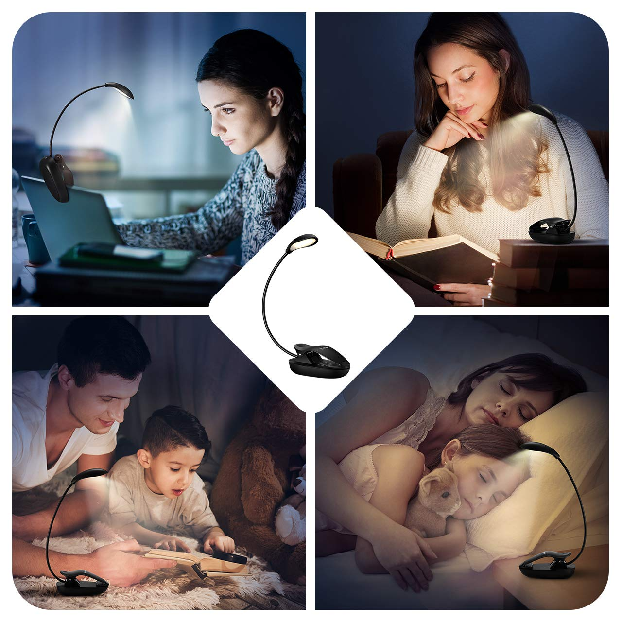 Flexo Pinza USB Cable de Carga Incluido Luz Port/átil Clip para Kindle,Lectores Noche Luz Lectura,TOPELEK Lampara de Lectura con 8 Luces LED 3 Niveles de Intensidad