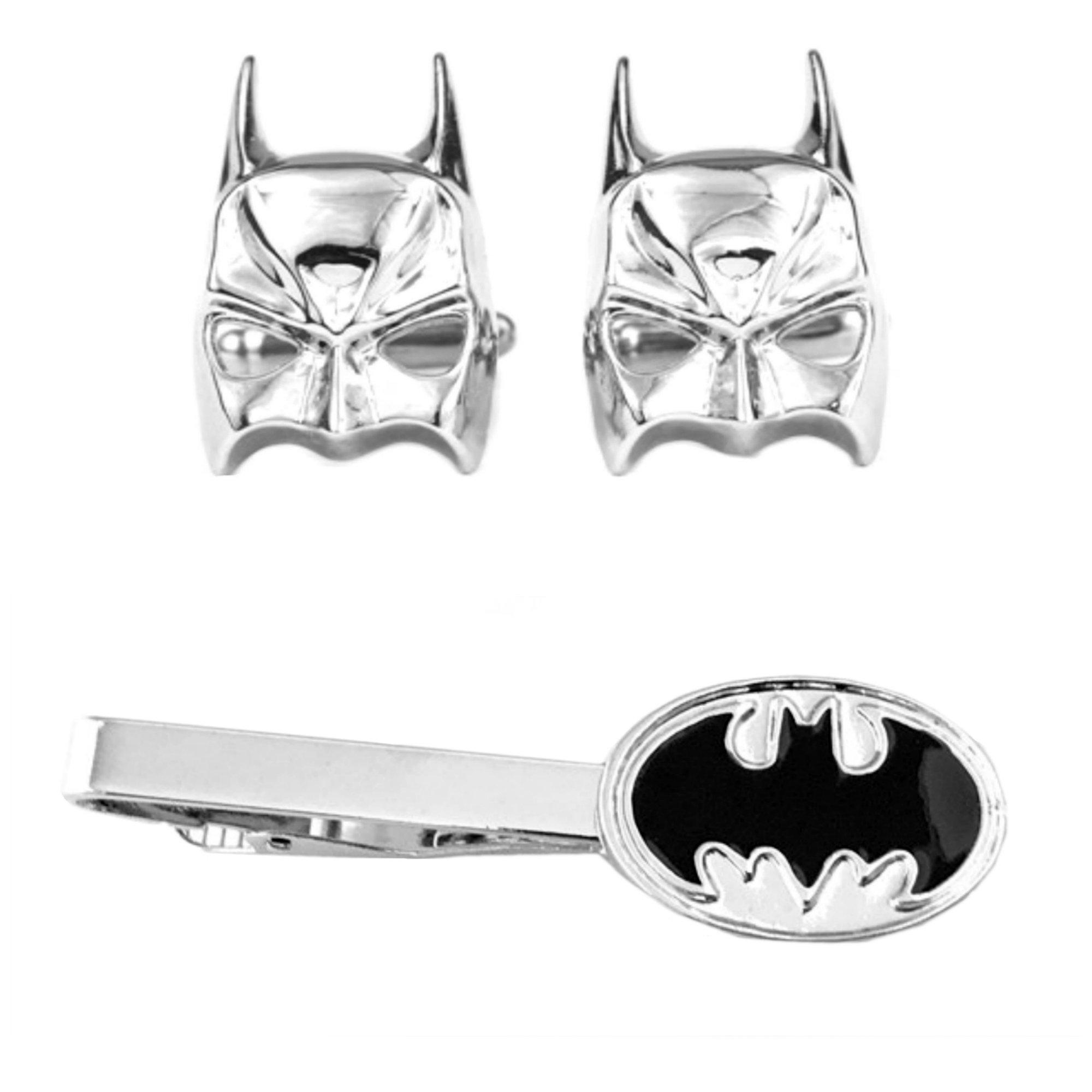 DC Comics - Batman Silver Mask Cufflink & Batman Oval Tiebar - Set of 2 Wedding Superhero Logo w/Gift Box