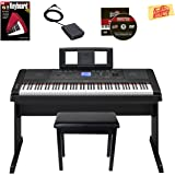 Yamaha DGX-660 Digital Piano - Black Bundle with Furniture Bench, Instructional Book, Austin Bazaar Instructional DVD, and Polishing Cloth