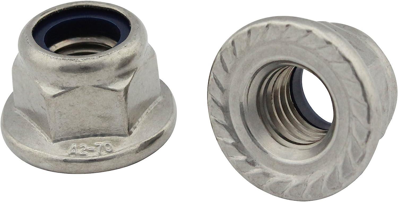 M3 - - Flanschmuttern 50 St/ück Sechskantmuttern mit Flansch und Sperrverzahnung DIN 6923 Edelstahl A2 - SC6923 V2A SC-Normteile