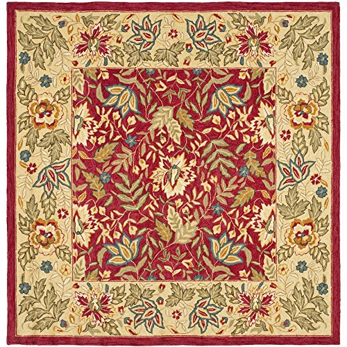 Safavieh Chelsea Collection HK140C Hand-Hooked Red and Ivory Premium Wool Square Area Rug (8' Square)