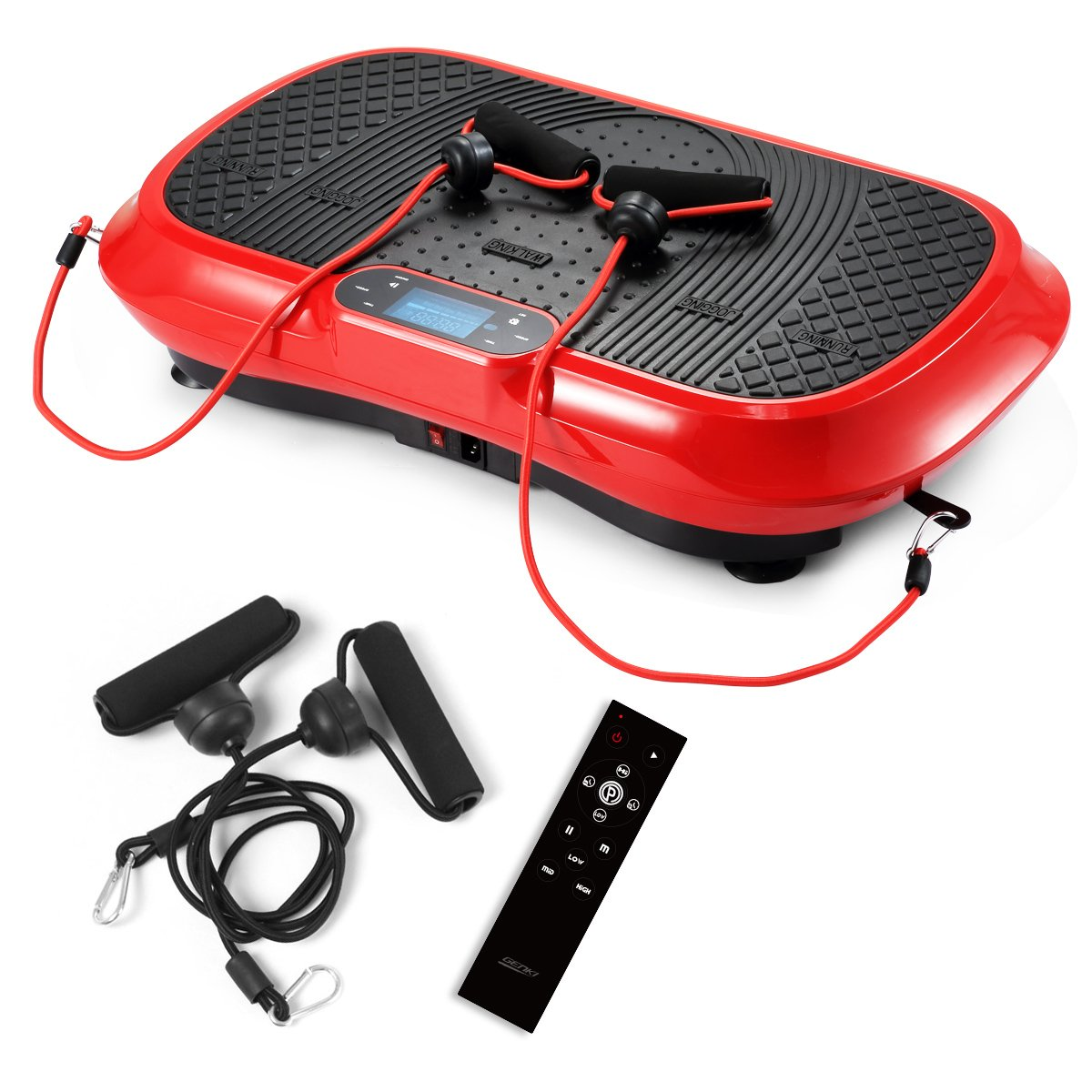 GENKI YD-1010B-R Ultra Slim Vibration Machine Plate Platform Whole Body Shaper Trainer Exercise Red by GENKI (Image #1)