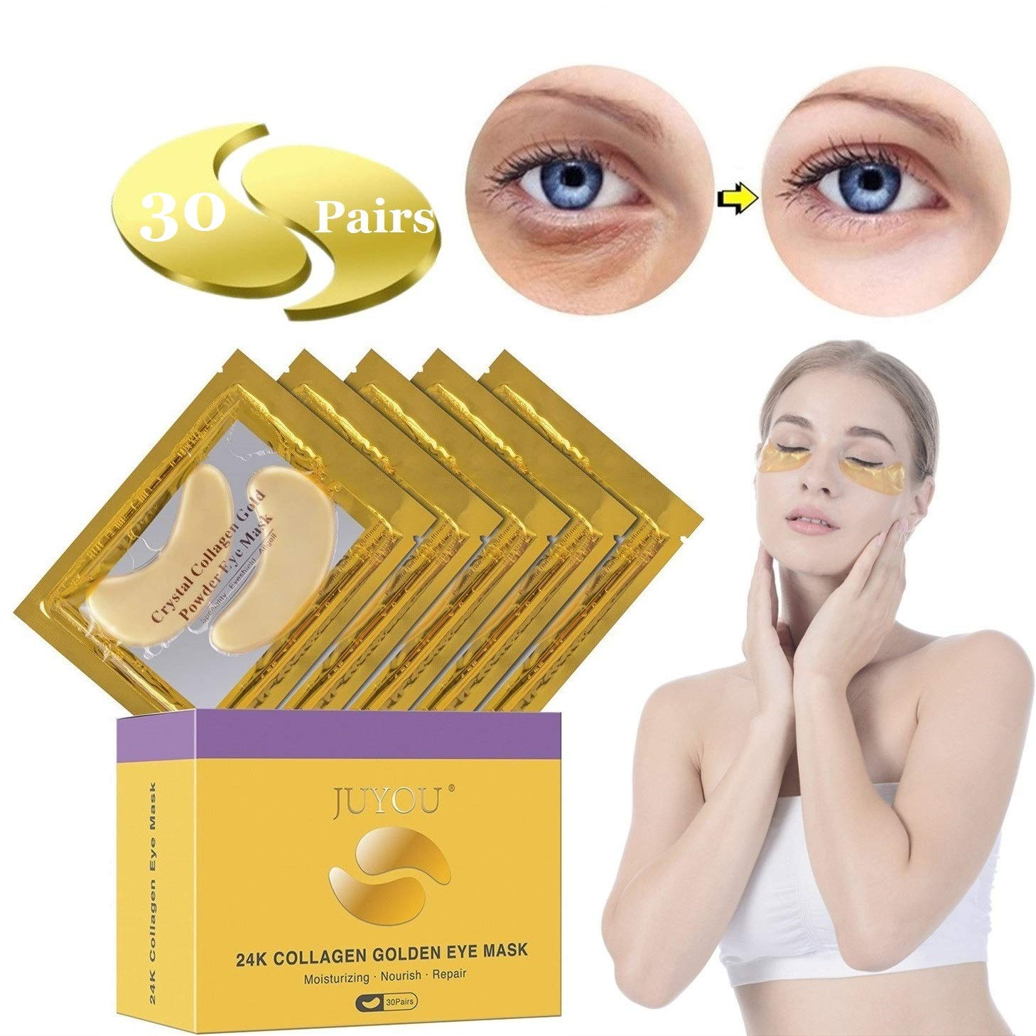 JUYOU 24K Gold Under Eye Patch, Eye Mask, Collagen Eye Patch, Eye Pads For Anti-wrinkles, Puffy Eyes, Dark Circles, Fine Lines Treatment 30 Pairs by JUYOU