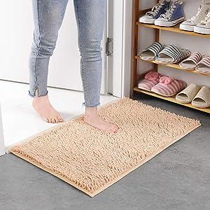 qwqqaq Shag Bath Rug,Luxury Chenille Plush Bath Mat Absorbent Shaggy Shower Rug Machine Washable Rug Durable Solid Color Carpets for Bathroom,Kitchen-d 40x120cm(16x47inch)