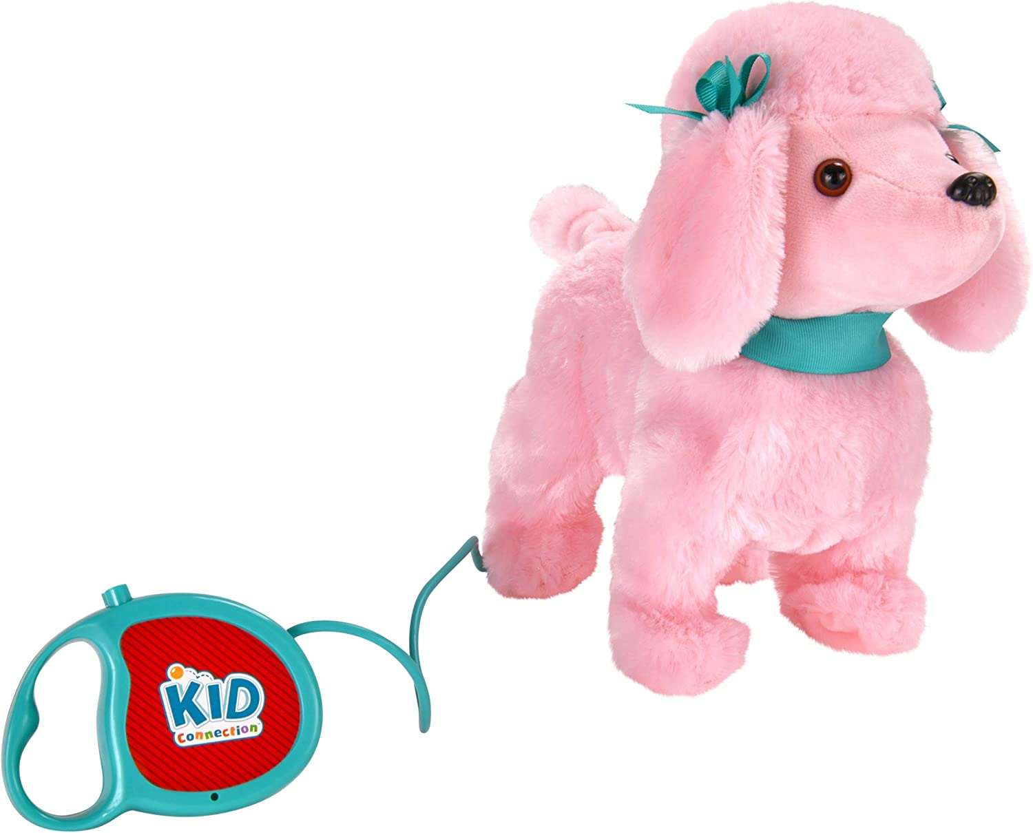 Kid Connection 9 Plush Walking Pet Dog Barking Tail Wagging Pink Poodle Remote Control Leash