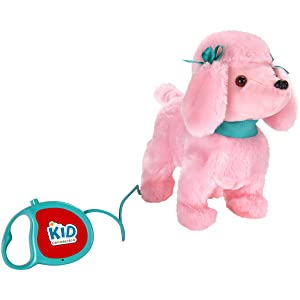 "Kid Connection 9"" Plush Walking Pet Dog, Barking Tail Wagging Pink Poodle Remote Control Leash"