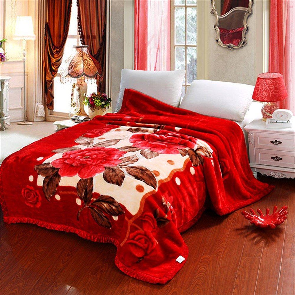 Double-Layer Thicker Winter Korallen samt Hochzeit Student Doppel Sofa Raschel Leisure Blanket,200x230cm 7
