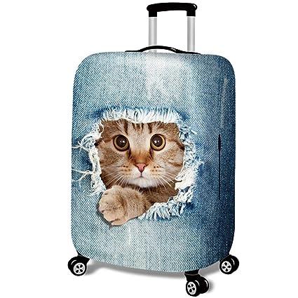 Fundas para Maletas - Patrón de Gato 3D - Look de Jeans - Cubierta de Protector Equipaje con Cremallera,Cat in Jeans 1,S (18-20 Pulgada)