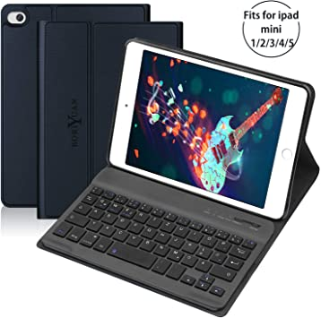 BORIYUAN Funda para teclado con modo de suspensión magnética y modo de activación con teclado extraíble para iPad Mini iPad 1-5 Azul
