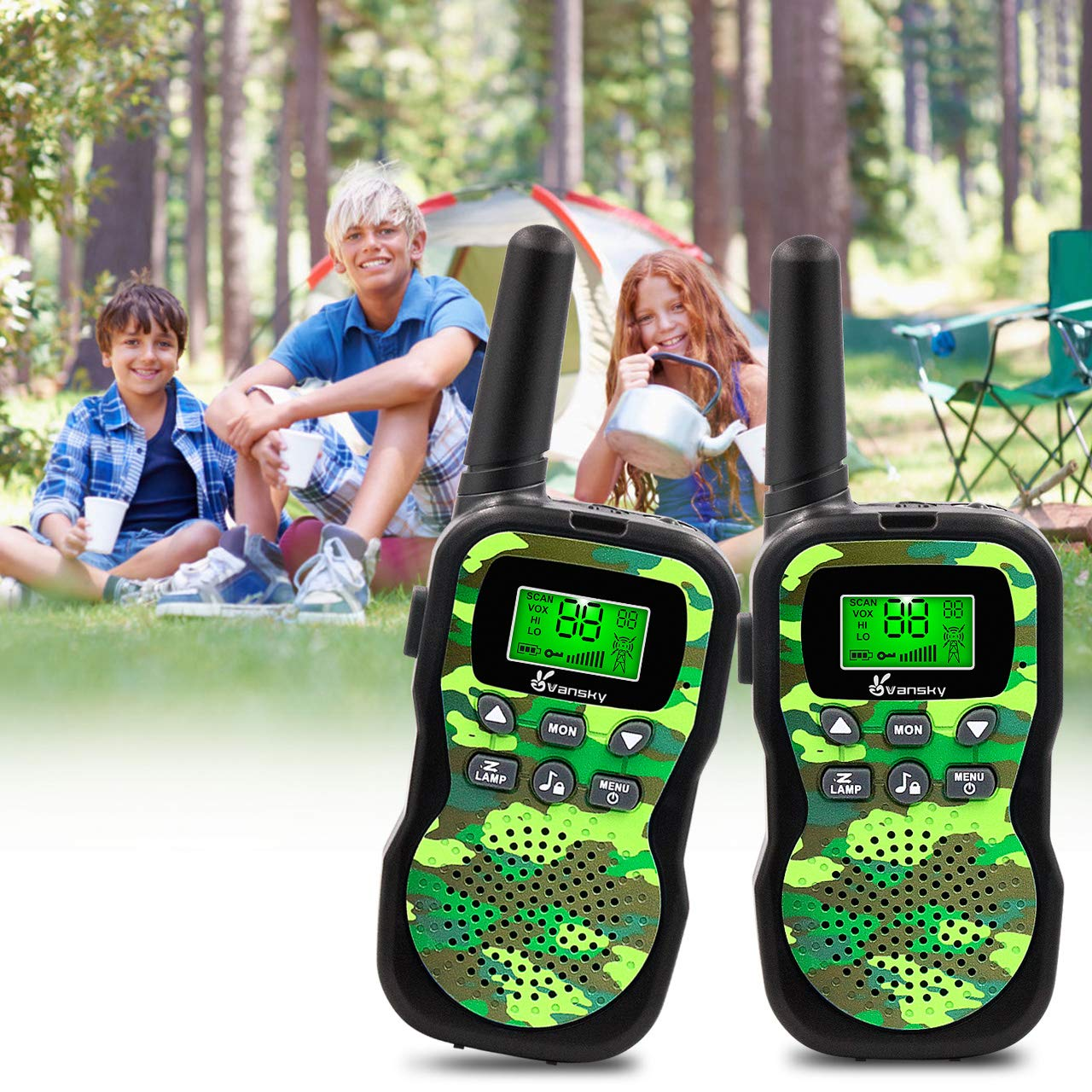 Vansky Walkie Talkies for Kids, Kids Toys 4 5 6 7 8 Age Boy Girl Long Range 22 Channel Built-in Flashlight 2 Way Radio Best Gifts Games, Outdoor Adventure, Camping, Hiking (Camo Green) by Vansky (Image #5)
