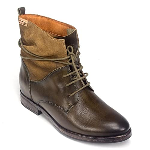 Pikolinos - Botas Militares de Cuero Mujer, Color Negro, Talla 36 EU: Amazon.es: Zapatos y complementos