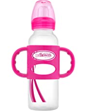 Dr. Brown's Sippy Spout Baby Bottle with Silicone Handle, 8 Ounce, Pink