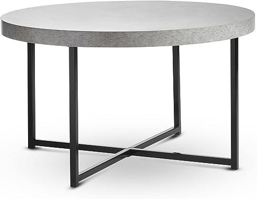 Vonhaus Concrete Look Round Coffee Table 80cm Diameter Modern Lightweight Metal Effect Furniture For Bedsidehallwayliving Room