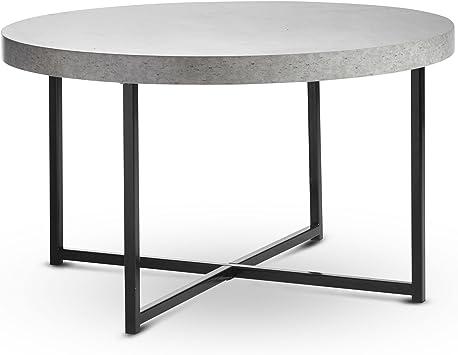 Vonhaus Concrete Look Round Coffee Table 80cm Diameter Modern