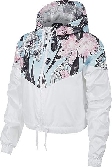 Contradecir carne de vaca agudo  Amazon.com: Nike Windrunner - Chaqueta cortavientos para mujer, diseño  floral, color blanco: Clothing