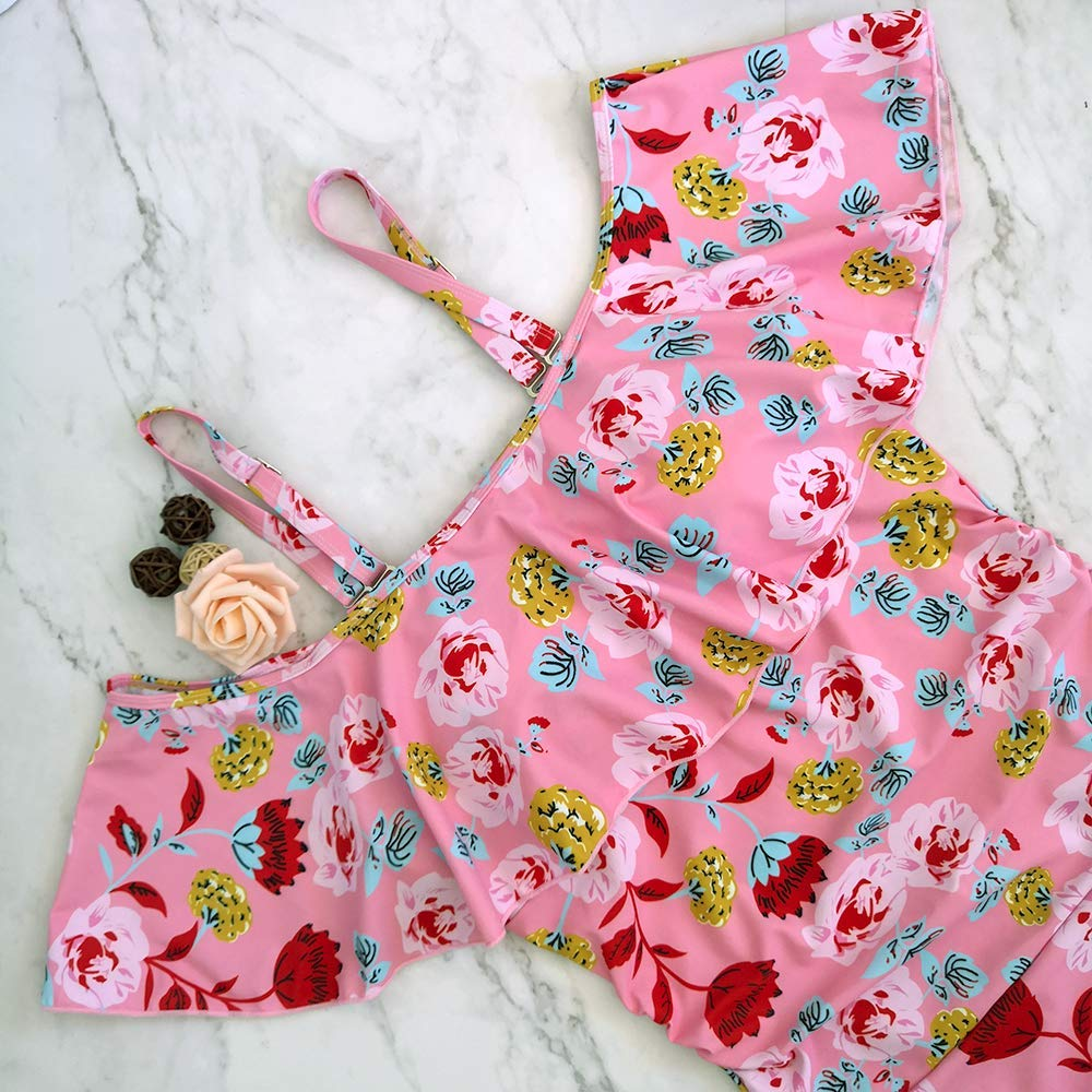 Maternity Floral Swimsuit One Piece Off Shoulder Flounced Ruffled Pregnancy Swimwear Maternity Bikini