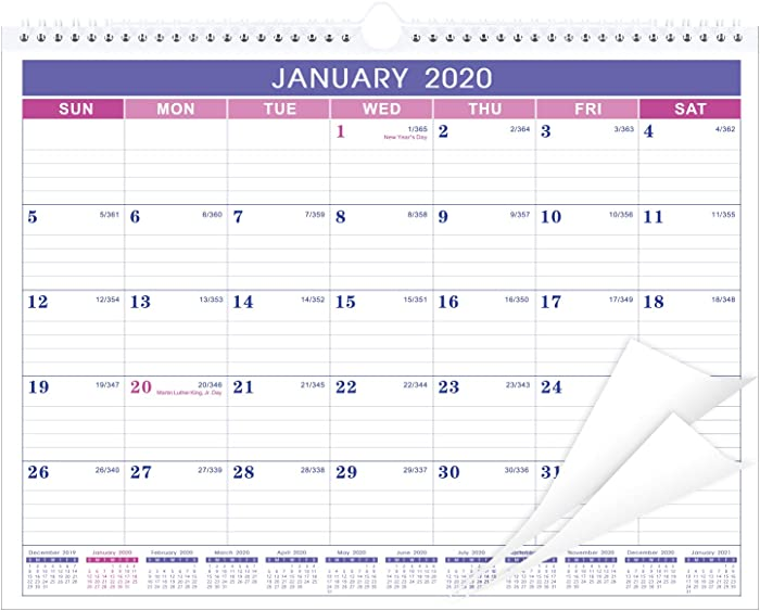 """Calendar 2020 - Monthly Wall Calendar with Thick Paper, 11.5"""" x 15"""", Twin-Wire Binding + Hanging Hook + Ruled Blocks with Julian Date - Purple"""