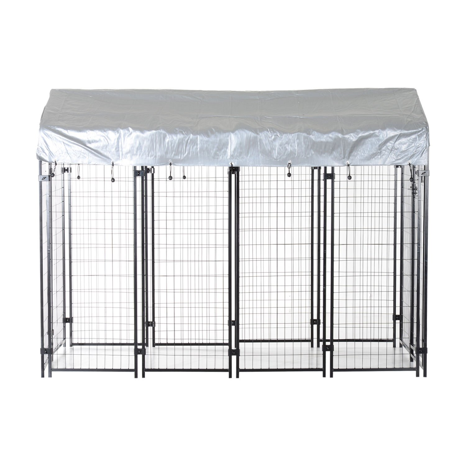PawHut 97'' x 46'' Outdoor Galvanized Metal Dog Kennel Playpen with UV and Water Resistant Tarp Cover by PawHut (Image #4)
