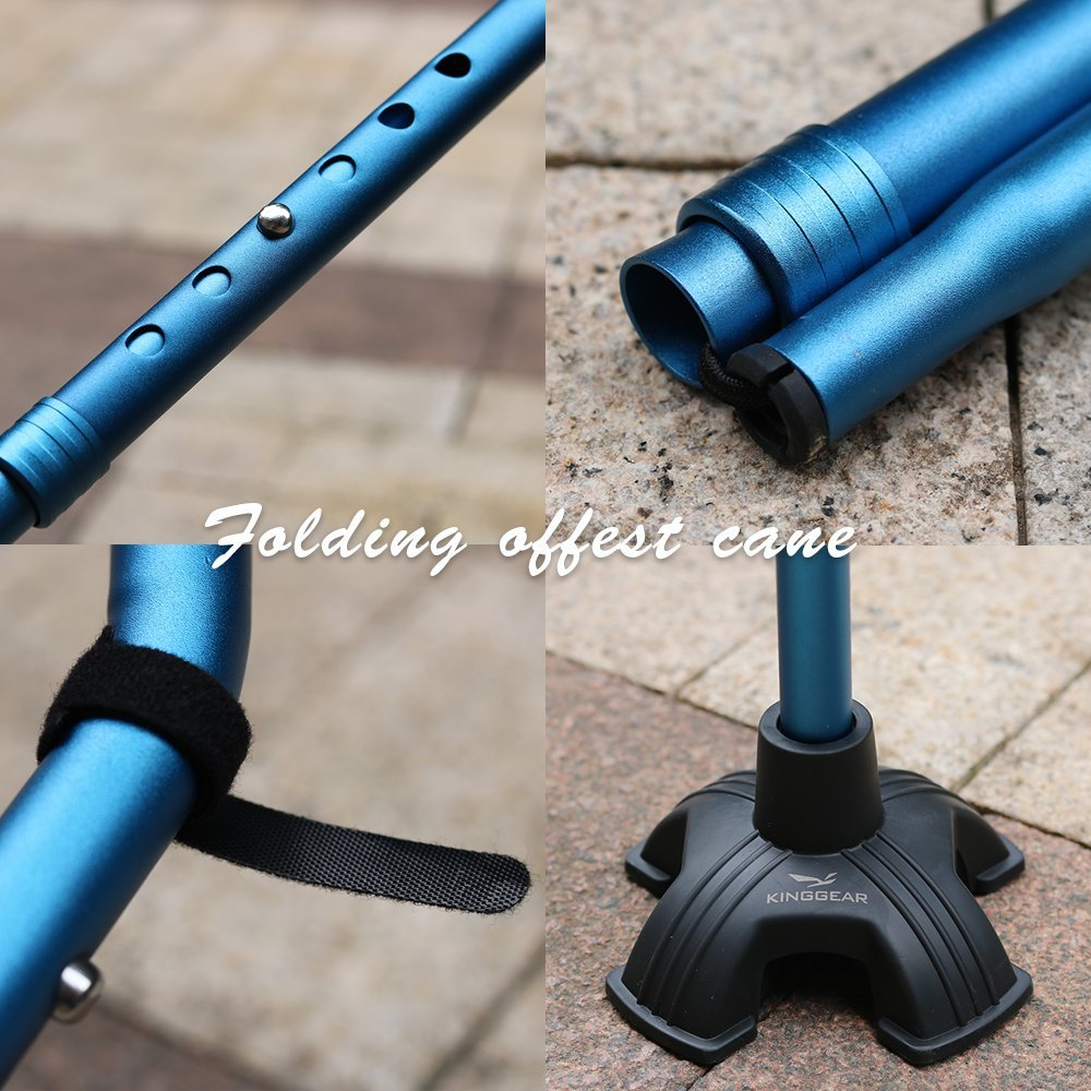 KingGear Adjustable Cane for Men & Women - Lightweight & Sturdy Offset Walking Stick - Mobility Aid for Elderly, Seniors & Handicap (Blue) by KINGGEAR (Image #6)