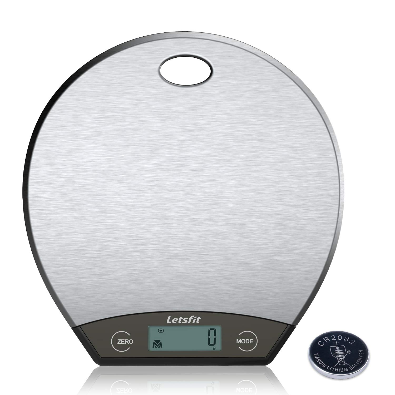 Letsfit Digital Kitchen Scale, Hanging Food Scales with LCD Display, Stainless Steel, 0.1oz (1g) to 11lbs (5000g), Battery Included by Letsfit