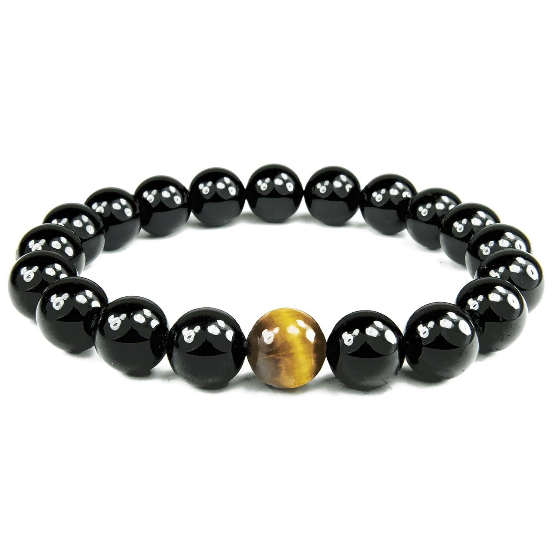 ONE ION Golden Eye Black Tourmaline Bracelet - Premium 10mm Tourmaline Tiger Eye - 3 Sizes MD-OI-PS21