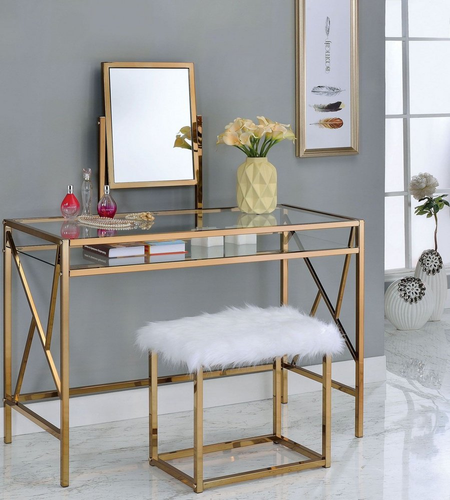 Furniture of America CM-DK6707CPN Lismore Champagne Stool Vanity Table by Furniture of America