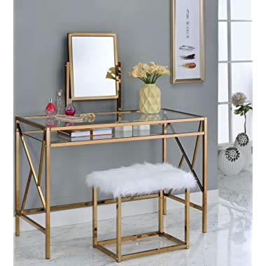 Furniture of America CM-DK6707CPN Lismore Champagne Stool Vanity Table