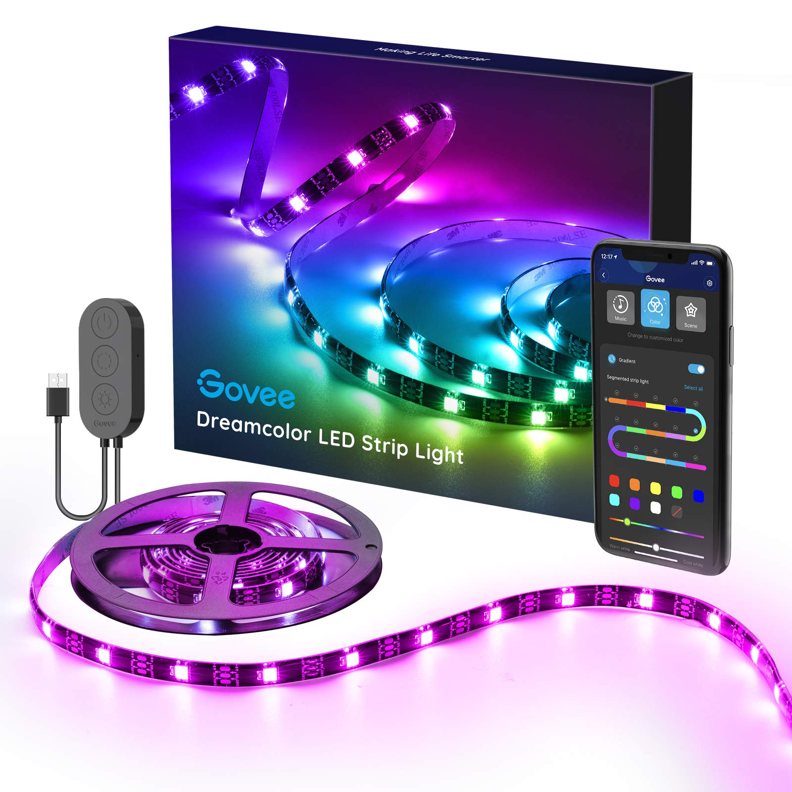 Govee TV LED Strip Lights, 6.56FT RGBIC TV LED Backlights with App Control, Music Sync, Scene Mode, Color Changing LED Light Strip with Timer for HDTV PC Computer Gaming, USB Powered