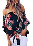 Asvivid Womens Summer Floral Printed Off The Shoulder Tops 3 4 Flare Sleeve Tie Knot T-Shirt Blouses