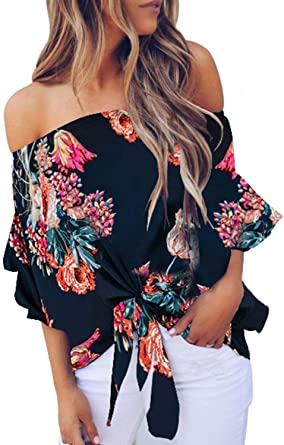 Ladies Women Casual Chiffon Floral Print Flare Long Sleeve Tops T-Shirt Blouse