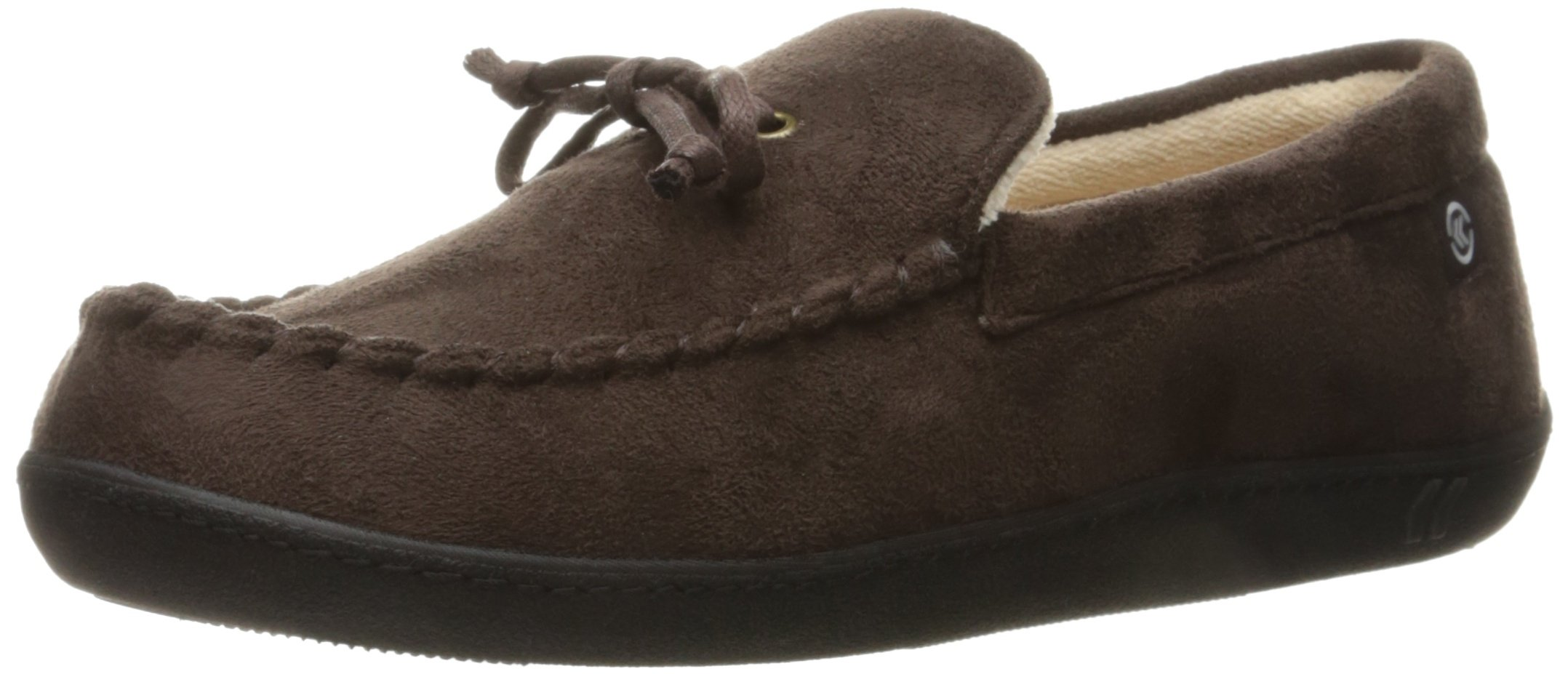 ISOTONER Men's Whipstitch Gel Infused Memory Foam Moccasin, Dark Chocolate, XX-Large/13-14 M US by ISOTONER