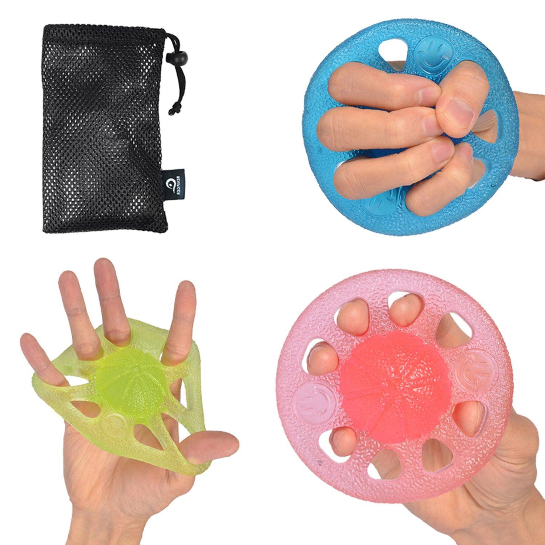 Benificer Manopole Mani Finger Set di 3 Resistenza Potenziamento Muscolare Spremere Palline per Esercizi Rafforza potenza e flessibilit/à Mano Dita e Polsi Allevia i Dolori Articolatori